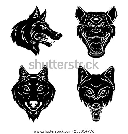 Wolf Head Tattoo - stock vector