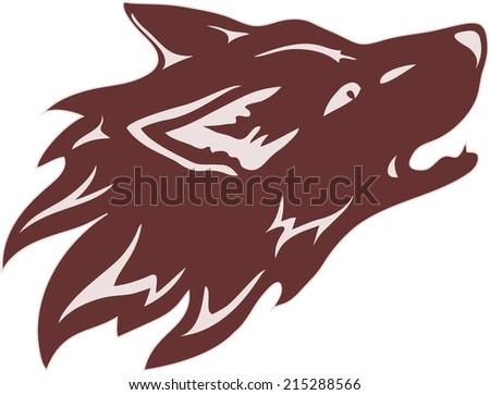 Wolf head - tribal tattoo - stock vector