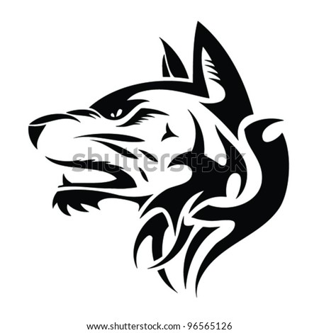 Wolf head - tribal tattoo illustration - stock vector