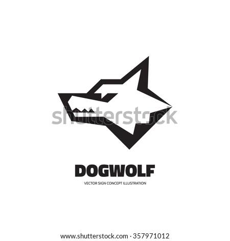 Wolf head - vector logo concept illustration. Dog head - vector concept illustration. Wilde animal graphic illustration. Vector logo template.  - stock vector