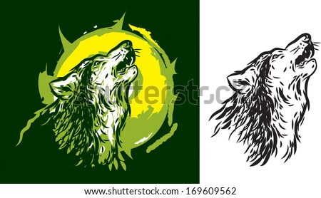 Wolf howling - stock vector