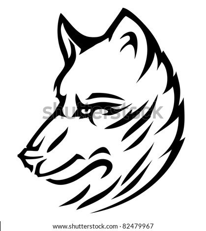 Wolf husky cute (vector) - stock vector