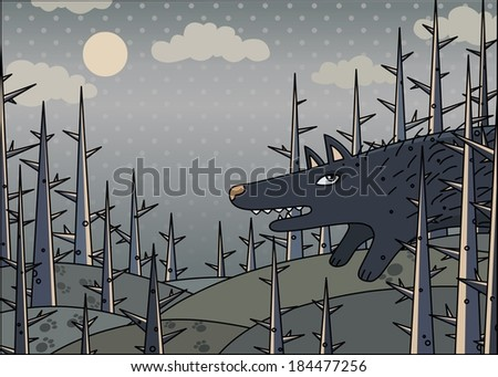 wolf in the gloomy wood - stock vector