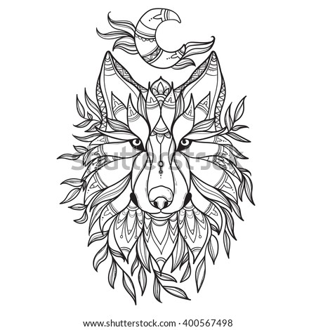 Wolf Tribal Style Moon Leafs Detail Zentangle Stock Vector