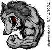 Wolf Mascot Flexing Arm Cartoon - stock vector