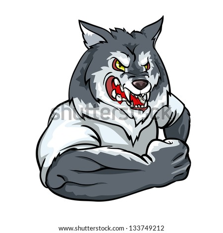 Wolf mascot, team logo design isolated - stock vector
