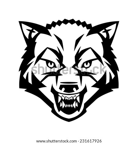 wolf's head showing teeth harsh beast hunter forest vector can be used as a tattoo or logo - stock vector