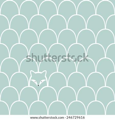 Wolf seamless cartoon pattern - stock vector