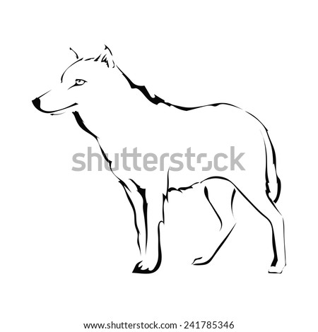 Wolf silhouette isolated on white background. Logo. Vector illustration. - stock vector