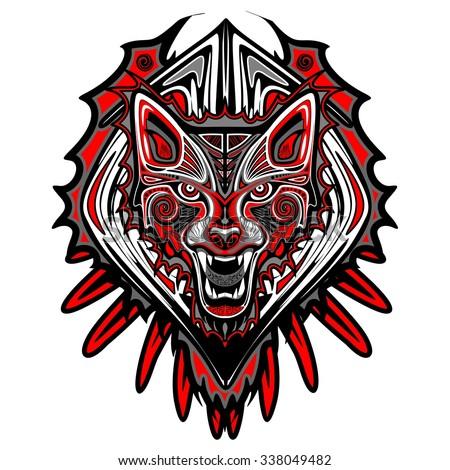 Wolf Tattoo Style Haida Art - stock vector