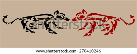wolf tribal art black and red - stock vector