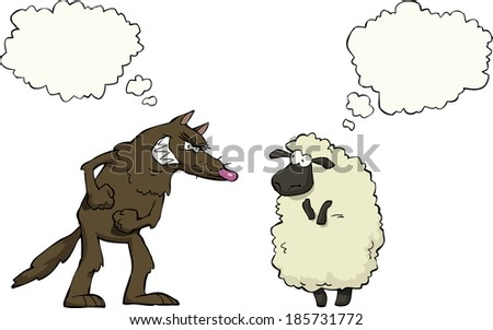 Wolf vs sheep a white background vector illustration - stock vector