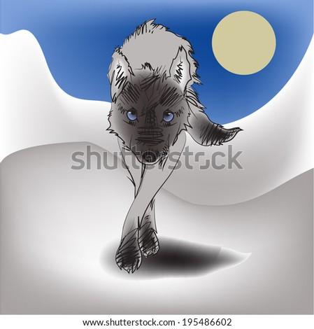 Wolf walking vector. - stock vector