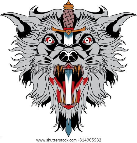 wolf with knife, vector tattoo  - stock vector