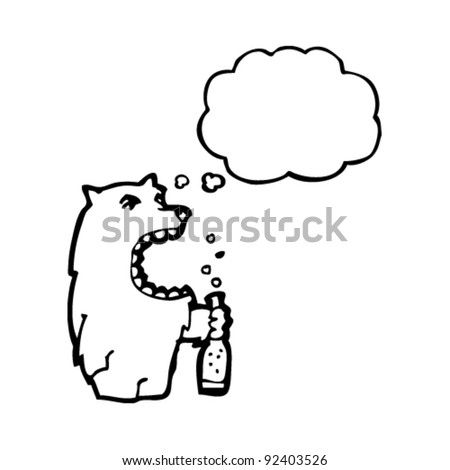wolf with thought bubble drinking beer - stock vector