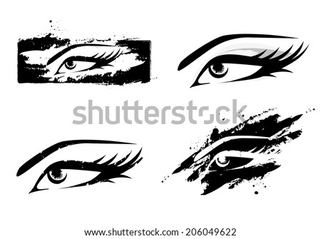 Woman Abstract MakeUp Eye Collection in Black and White - stock vector