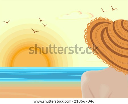 Woman admiring sunset in tranquility of the summer landscape - stock vector