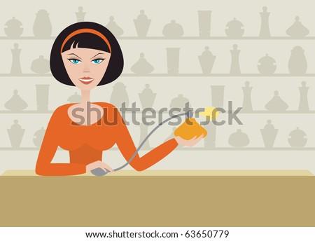 Woman advertises perfume in the perfume store. Vector cartoon illustration. - stock vector