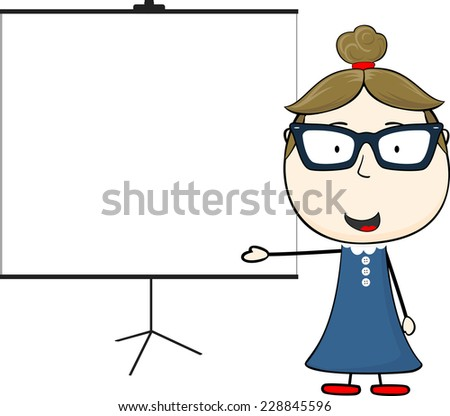 woman and blank flip chart isolated on white background - stock vector