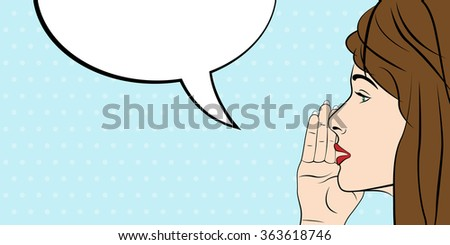 Woman and  blank speech bubble, pop art style. Vector illustration - stock vector