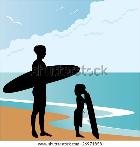 woman and child on beach waiting for wave