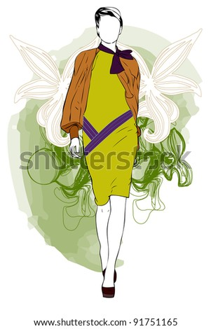 woman and fashion - stock vector