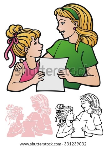 Woman and girl looking at a blank piece of paper.  With full color, black outline, and reverse for printing on dark backgrounds. - stock vector