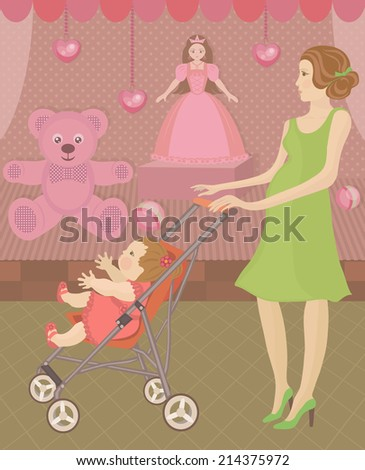 Woman and little girl. Mother with baby visit shop with toys. Funny shopping. Colorful Vector illustration. - stock vector