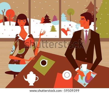 woman and man in cafe winter background - stock vector