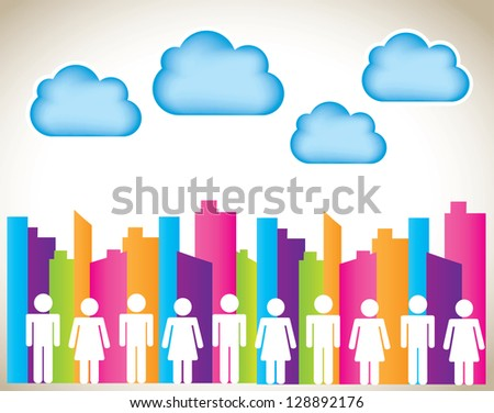woman and man over colors building over landscape background - stock vector