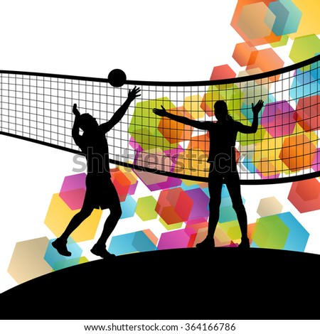 Woman and man volleyball player silhouettes in sport abstract vector background illustration - stock vector
