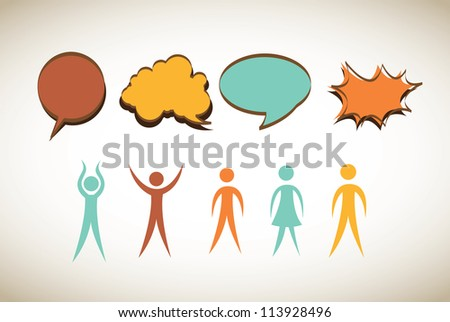 woman and man with announcement  of colors vector illustration - stock vector