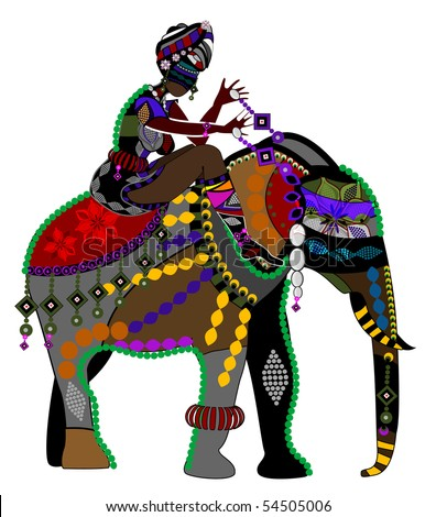 woman and the elephant in the ethnic style on a white background - stock vector