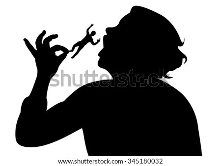 woman angry with man, eating him - stock vector