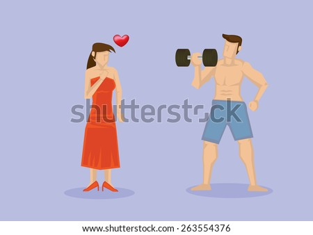 Woman attracted to strong man with muscular torso working out with dumbbell. Vector illustration isolated on pale purple background. - stock vector
