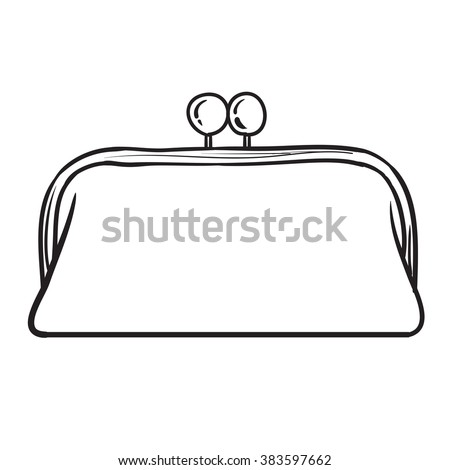 Woman bag hand drawn, female stylish purse clutch vector fashion illustration black on white line  - stock vector