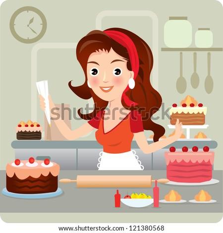 woman baking cookies retro kitchen vector stock vector 121380568 shutterstock. Black Bedroom Furniture Sets. Home Design Ideas