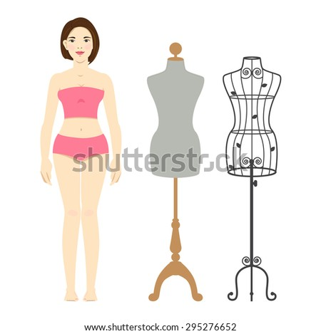 Woman body and mannequin or dressmaker dummy.