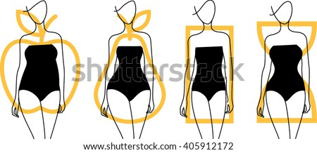 Woman body shapes. Apple, pear, hourglass,rectangle shapes icon. Vector illustration - stock vector