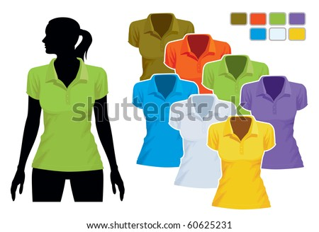 Woman body silhouette with colorful collection of polo shirts