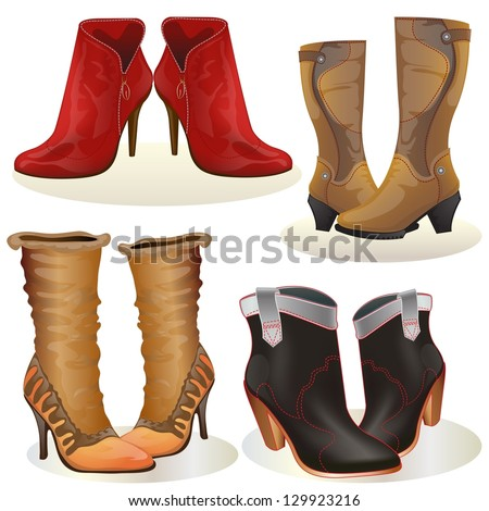 Woman boot, set of woman boots isolated on white - stock vector