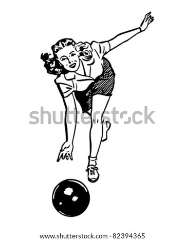 Woman Bowling - Retro Clipart Illustration - stock vector