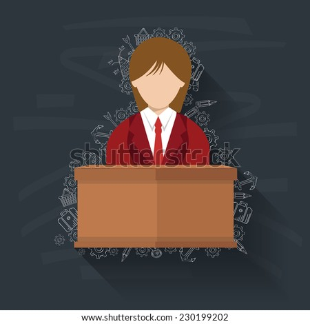 Woman,Business on blackboard background,vector - stock vector