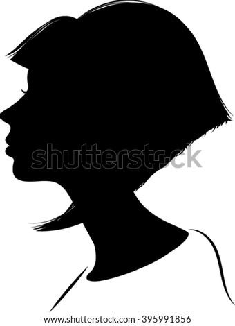 Woman Cameo Silhouette - Vector Illustration - stock vector