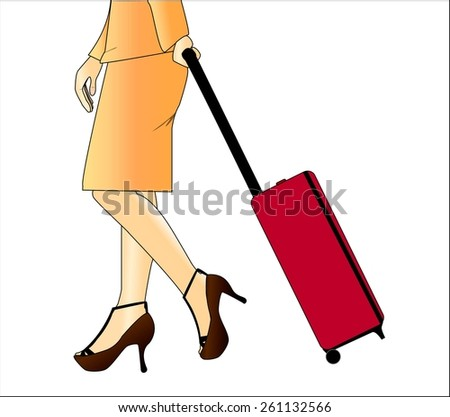 woman carrying a suitcase - stock vector