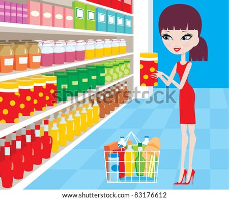 Woman cartoon in a supermarket. vector, color full, no gradient - stock vector