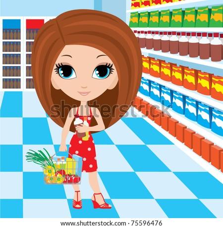 Woman cartoon in a supermarket.  vector, no gradient - stock vector