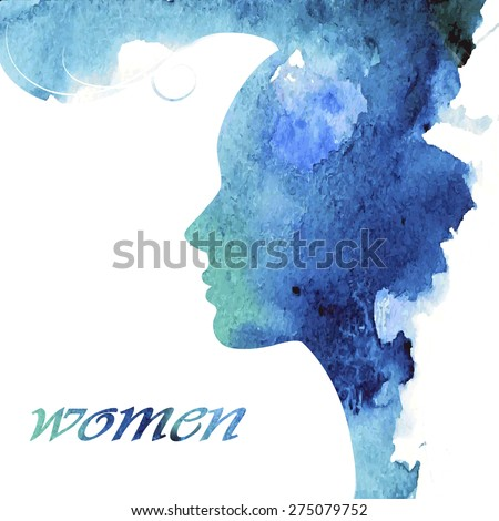 Woman chat vector logo design template. Girl silhouette - cosmetics, beauty, health; spa, fashion themes. Creative icon. - stock vector