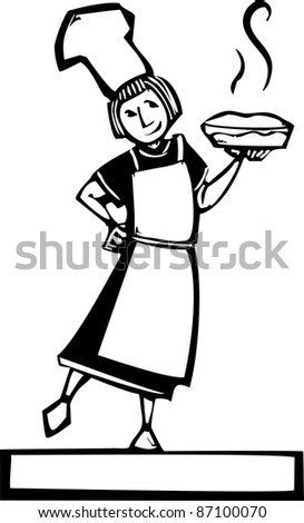 Woman chef holding a hot fresh apple pie - stock vector