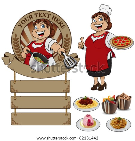 Woman chef wearing apron on a white background - stock vector